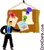 Vector Clip Art image  of a man posting a bulletin
