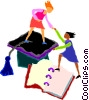 Vector Clip Art image  of a women graduating from school