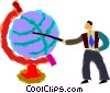 teacher with globe Vector Clipart graphic
