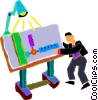 Vector Clipart picture  of a man working on a drafting