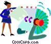 Vector Clipart image  of a woman using a rolodex