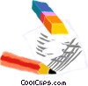 Vector Clipart illustration  of a pencil and eraser