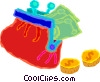 purse with money falling out Vector Clip Art picture
