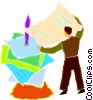 Vector Clip Art image  of a man finishing his orders