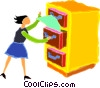 Vector Clip Art image  of a woman filing papers