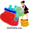 women putting money into a purse Vector Clipart image
