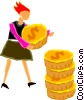 women stacking coins Vector Clipart graphic
