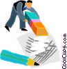 Vector Clip Art picture  of a man erasing drawing