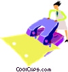 woman using hole punch Vector Clip Art image