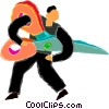 Vector Clip Art picture  of a man with scissors