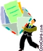 Vector Clip Art picture  of a man opening letter