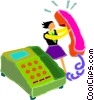 Vector Clipart graphic  of a woman answering telephone
