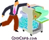 Vector Clipart graphic  of a man shredding paper