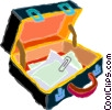briefcase with papers and paper clips Vector Clip Art picture