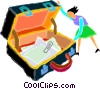 Vector Clip Art graphic  of a briefcase with papers and