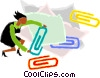 Vector Clip Art graphic  of a woman holding paper clips