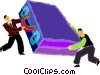 Vector Clipart picture  of a men struggling with briefcase