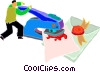 Vector Clipart picture  of a man with rubber stamp