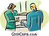 Vector Clip Art picture  of a women at the water cooler