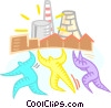 Vector Clipart graphic  of a teamwork