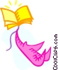 Vector Clip Art graphic  of a kite made out of a book