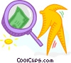 Vector Clip Art image  of a magnifying glass and money