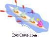 Vector Clip Art image  of a computers rowing a boat