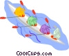 people rowing a boat Vector Clip Art picture