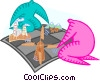 Vector Clip Art graphic  of a playing chess with buildings