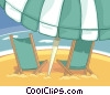 beach chairs with umbrella Vector Clip Art graphic