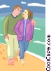 Vector Clip Art graphic  of a couple walking on the beach