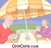 Vector Clip Art graphic  of a older couple having lunch on