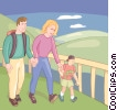 Vector Clipart graphic  of a Family hiking through the park