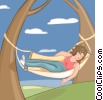 Woman relaxing in a hammock Vector Clip Art picture