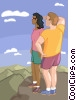 Vector Clip Art image  of a couple on top of a mountain