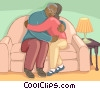 Vector Clipart graphic  of a Older couple hugging on the