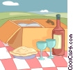 Vector Clip Art image  of a picnic basket with wine and a