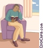 Vector Clip Art graphic  of a man reading a book
