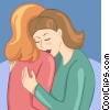 two women hugging Vector Clipart illustration