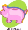 Vector Clipart graphic  of a piggy bank