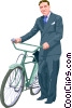 Vector Clip Art image  of a Man and a bike