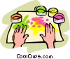 finger painting Vector Clipart picture