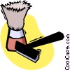 Vector Clipart graphic  of a razor and cream brush