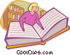 Vector Clipart graphic  of a Woman reading book