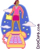 Vector Clipart image  of a woman standing on a telephone