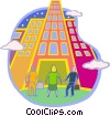 Vector Clip Art picture  of a people looking up at building