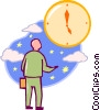 Vector Clipart image  of a man looking at watch