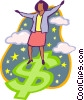 Vector Clip Art picture  of a woman surfing on dollar sign