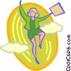 Vector Clipart picture  of a businesswoman jumping into the