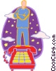 Vector Clipart picture  of a man standing on a telephone